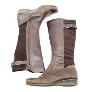 Ecco Abelone Brown Leather Wedge Mid Calf Boots